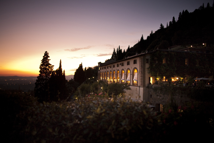Sunset on wedding venue in Italy.
